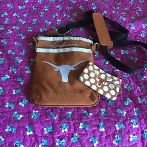Longhorns cross body purse with coin purse.